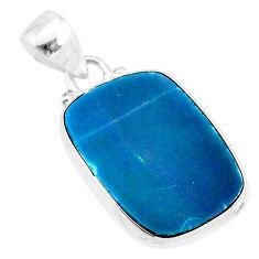 925 silver 9.80cts natural blue doublet opal australian fancy pendant r86184