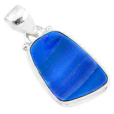 925 silver 8.60cts natural blue doublet opal australian fancy pendant r86208