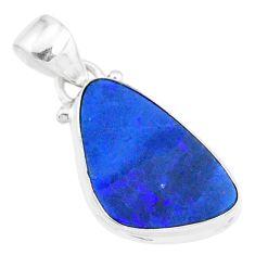925 silver 8.26cts natural blue doublet opal australian fancy pendant r86215