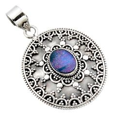 925 silver 3.59cts natural blue doublet opal australian oval pendant r47056