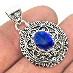 925 silver 1.66cts natural blue doublet opal australian oval pendant t32668