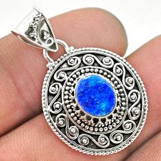 925 silver 1.61cts natural blue doublet opal australian oval pendant t32672