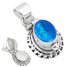 925 silver 2.10cts natural blue doublet opal australian poison box pendant t3724