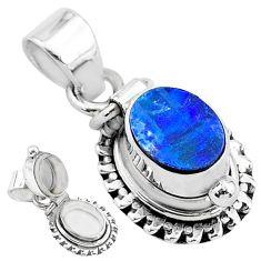 925 silver 2.13cts natural blue doublet opal australian poison box pendant t3729