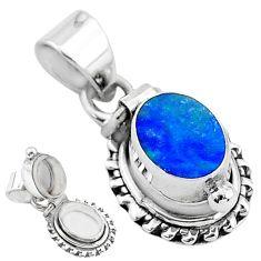 925 silver 2.12cts natural blue doublet opal australian poison box pendant t3743