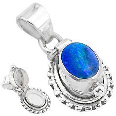 925 silver 1.91cts natural blue doublet opal australian poison box pendant t3749