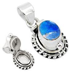925 silver 2.01cts natural blue doublet opal australian poison box pendant t4019