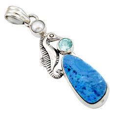 925 silver 10.02cts natural blue doublet opal australian seahorse pendant d45863