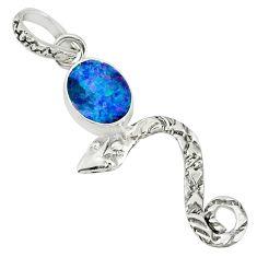 925 silver 3.14cts natural blue doublet opal australian snake pendant r78413