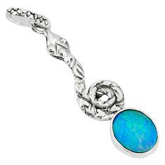 925 silver 2.36cts natural blue doublet opal australian snake pendant r78494
