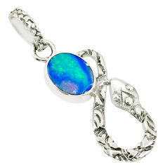 925 silver 2.38cts natural blue doublet opal australian snake pendant r78573