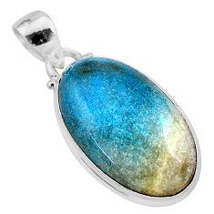 925 silver 16.18cts natural blue dumorite (dumortierite) oval pendant t28638