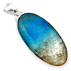 925 silver 24.38cts natural blue dumorite (dumortierite) oval pendant t28646