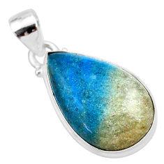 925 silver 14.18cts natural blue dumorite (dumortierite) pear pendant t28665