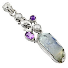 Clearance Sale- 925 silver 23.07cts natural blue dumortierite amethyst pearl pendant d43455