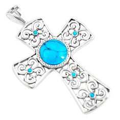 925 silver 4.07cts natural blue kingman turquoise holy cross pendant c10774