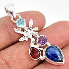925 silver 8.44cts natural blue kyanite amethyst angel wings fairy pendant t2611