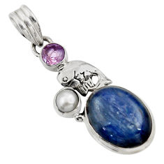 925 silver 11.37cts natural blue kyanite amethyst pearl dolphin pendant d42710