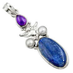 Clearance Sale- 925 silver 16.92cts natural blue kyanite amethyst pearl owl pendant d42707