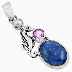 Clearance Sale- 925 silver 11.95cts natural blue kyanite amethyst pearl seahorse pendant d42713