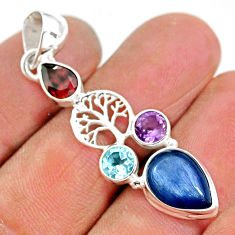 925 silver 7.50cts natural blue kyanite amethyst tree of life pendant t2257