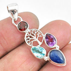 925 silver 6.04cts natural blue kyanite amethyst tree of life pendant t2267