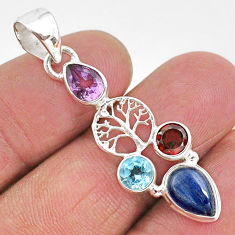 925 silver 6.03cts natural blue kyanite amethyst tree of life pendant t2293