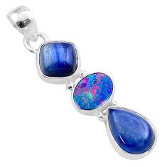 925 silver 10.76cts natural blue kyanite doublet opal australian pendant t48475