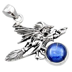 925 silver 5.51cts natural blue kyanite pentacle witches broom pendant r52977