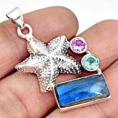 925 silver 6.63cts natural blue labradorite amethyst star fish pendant r20527