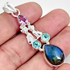 925 silver 12.36cts natural blue labradorite amethyst two cats pendant d42471