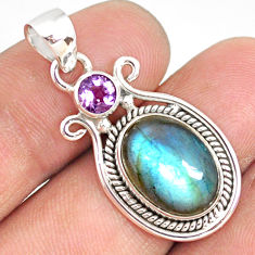 925 silver 6.62cts natural blue labradorite oval purple amethyst pendant r77566