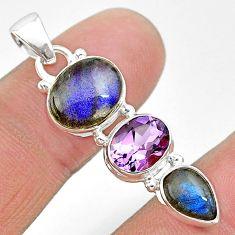 925 silver 10.71cts natural blue labradorite oval shape amethyst pendant t18708