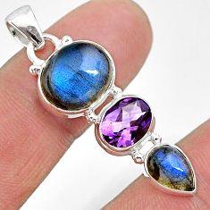 925 silver 12.08cts natural blue labradorite oval shape amethyst pendant t18713