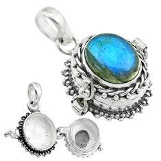 925 silver 5.14cts natural blue labradorite oval shape poison box pendant t52706