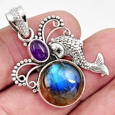 925 silver 10.60cts natural blue labradorite purple amethyst fish pendant d42467
