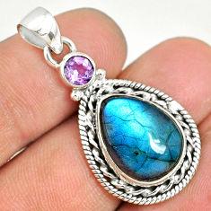 925 silver 10.37cts natural blue labradorite purple amethyst pendant r77544
