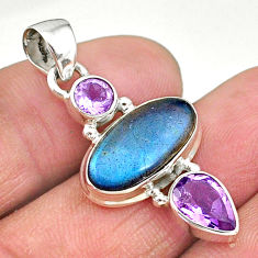925 silver 8.06cts natural blue labradorite purple amethyst pendant t11173