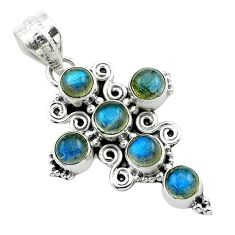925 silver 5.57cts natural blue labradorite round holy cross pendant t52999