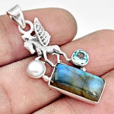 925 silver 5.87cts natural blue labradorite topaz pearl unicorn pendant r20532