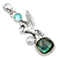 925 silver 6.58cts natural blue labradorite topaz pearl unicorn pendant r52720