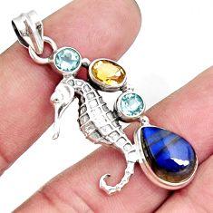 925 silver 8.96cts natural blue labradorite topaz seahorse pendant d42512