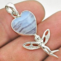 925 silver 6.26cts natural blue lace agate angel wings fairy pendant t55287