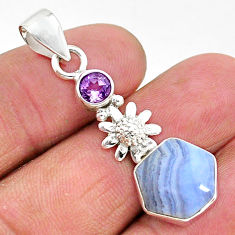 925 silver 5.64cts natural blue lace agate purple amethyst flower pendant r96910