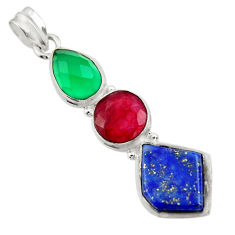 Clearance Sale- 925 silver 18.46cts natural blue lapis lazuli chalcedony ruby pendant d43857