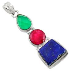 Clearance Sale- 925 silver 18.94cts natural blue lapis lazuli chalcedony ruby pendant d43860