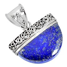 silver 17.18cts natural blue lapis lazuli fancy shape handmade pendant r85044