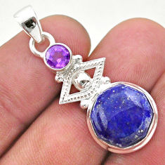 925 silver 6.85cts natural blue lapis lazuli hexagon amethyst pendant t46423