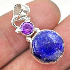 925 silver 6.95cts natural blue lapis lazuli hexagon amethyst pendant t46459