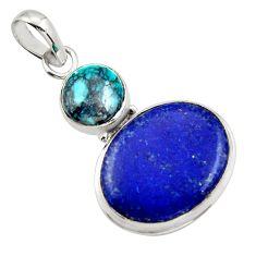 925 silver 17.22cts natural blue lapis lazuli turquoise tibetan pendant r32431